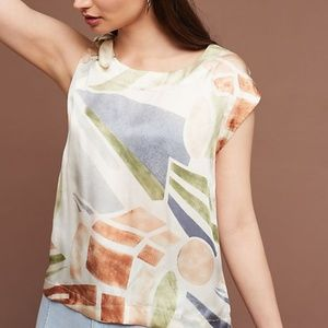 Anthropologie Maeve  Lake Shore Silk Top
